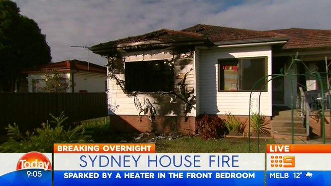 ไฟไหม้ที่บ้านในย่าน Cabramatta เหตุจากฮีตเตอร์ : ภาพจากข่าว Today ช่อง 9 Network