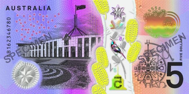 ภาพตัวอย่างธนบัตรชนิดราคา 5 เหรียญที่เริ่มออกใช้ตั้งแต่วันที่ 1 ก.ย. 2016 : ภาพต้นฉบับธนาคารกลางแห่งออสเตรเลีย