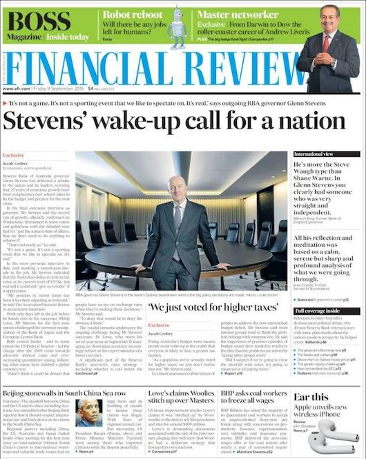 นสพ. Finance Review ฉบับ 9 ก.ย. 2016 เสนอข่าวนาย Glenn Steven ผู้ว่าการธนาคารส่งสัญญาณเตือนอย่าเหลิงกับเศรษฐกิจโต 25 ปีติดต่อกัน