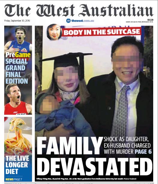 นสพ. The West Australian ฉบับ 30 ก.ย. 2016 เสนอข่าวคดีฆ่ายัดศพใส่กระเป๋าเดินทาง หน้าหนึ่งเป็นภาพนาง Tiffany Yiting Wan ถ่ายภาพวันรับปริญญาโทกับนาย Ah Ping Ban ผู้เป็นบิดา