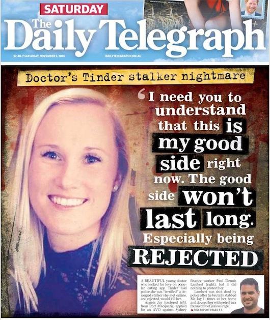 นสพ. The Telegraph ฉบับ 5 พ.ย. 2016 ขึ้นหน้าหนึ่งแพทย์หญิงถูกคู่เดทออนไลน์แทงปางตาย เหตุเพราะปฏิเสธไม่สานต่อความรัก