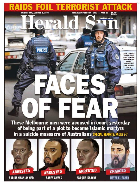 นสพ. Herald Sur ฉบับ 5 ส.ค. 2009 ภาพหัวข่าวการจับกุมนาย Saney Aweys และพวกรวมกันว่าแผนก่อวินาศกรรม