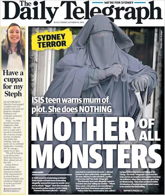 ภาพนี้จากนสพ. The Telegraph ฉบับ 14 ต.ค. 2016 ซึ่งไม่เกี่ยวกับเหตุการณ์ในข่าว เป็นภาพมารดาของเด็กวัยรุ่นผู้ต้องหาคดีพยายามก่อการร้ายฆ่าตัดหัวที่ย่าน Bankstown เหตุที่เอามาลงเพื่อให้เห็นชุดบุรกาแบบเดียวกับที่นาง Moutia Elzahed สวมใส่มาศาลเช่นเดียวกับเธอ