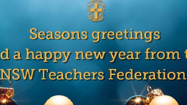 บัตรอวยพรของสหพันธ์ครูแห่งรัฐน.ซ.ว. เขียนว่า Seasons Greeting and a Happy New Year