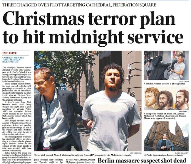 หนังสือพิมพ์ The SMH ฉบับ 24 ธันวาคม รายงานข่าวหน้า 1 ถึงการจับกุมผู้ก่อการร้าย ในภาพคือนาย Amed Mohamed