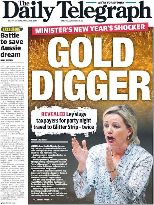 นสพ. the Daily Telegraph ฉบับ 9 ม.ค. 2017 เป็นหนึ่งในหนังสือพิมพ์หลักหลายฉบับที่ลงข่าวหน้าหนึ่งนาง Sussan Ley ร.มว.สาธารณสุขการใช้เงินภาษีของประชาชนจ่ายค่าการเดินทางส่วนตัว