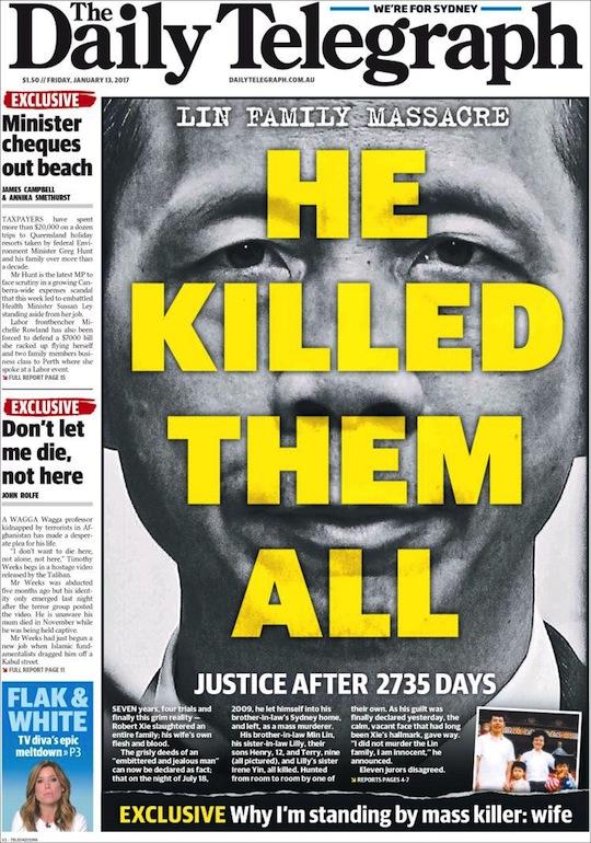 นสพ. The Telegraph ฉบับ 13 ม.ค. 2016 เสนอข่าวคดีฆ่ายกครอบครัว Lin ได้รับการตัดสินคดีหลังจากเหตุการณ์ผ่านไป 2,735 วัน