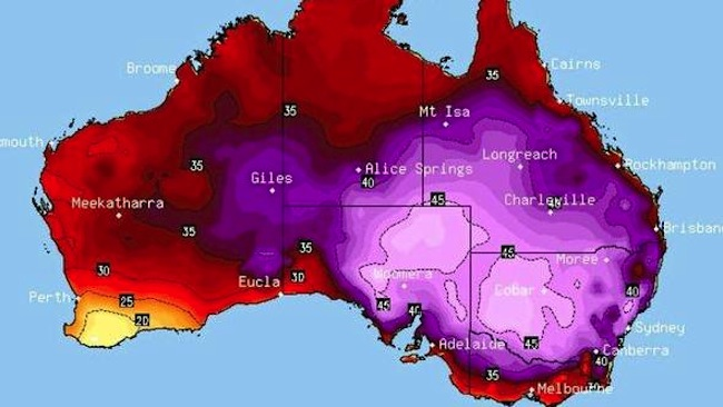 คลื่นความร้อน (สีม่วง) ที่ปกคลุมสี่รัฐทางภาพตะวันออกของออสเตรเลีย : ภาพจากเว็บไซท์ Higgins Storm Chasing