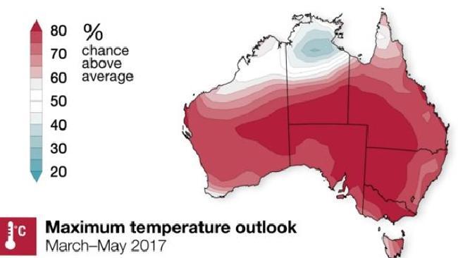 แผนที่แสดงอุณหภูมิสูงสุดในหน้าร้อนปี 2017 ที่คาดว่าจะสูงกว่าอุณหภูมิโดยเฉลี่ย : ภาพจากสำนักงานอุตุนิยมวิทยา