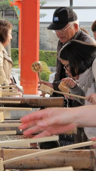 Temizuya - Shinto water ablution pavilion for a ceremonial purification rite known as temizu