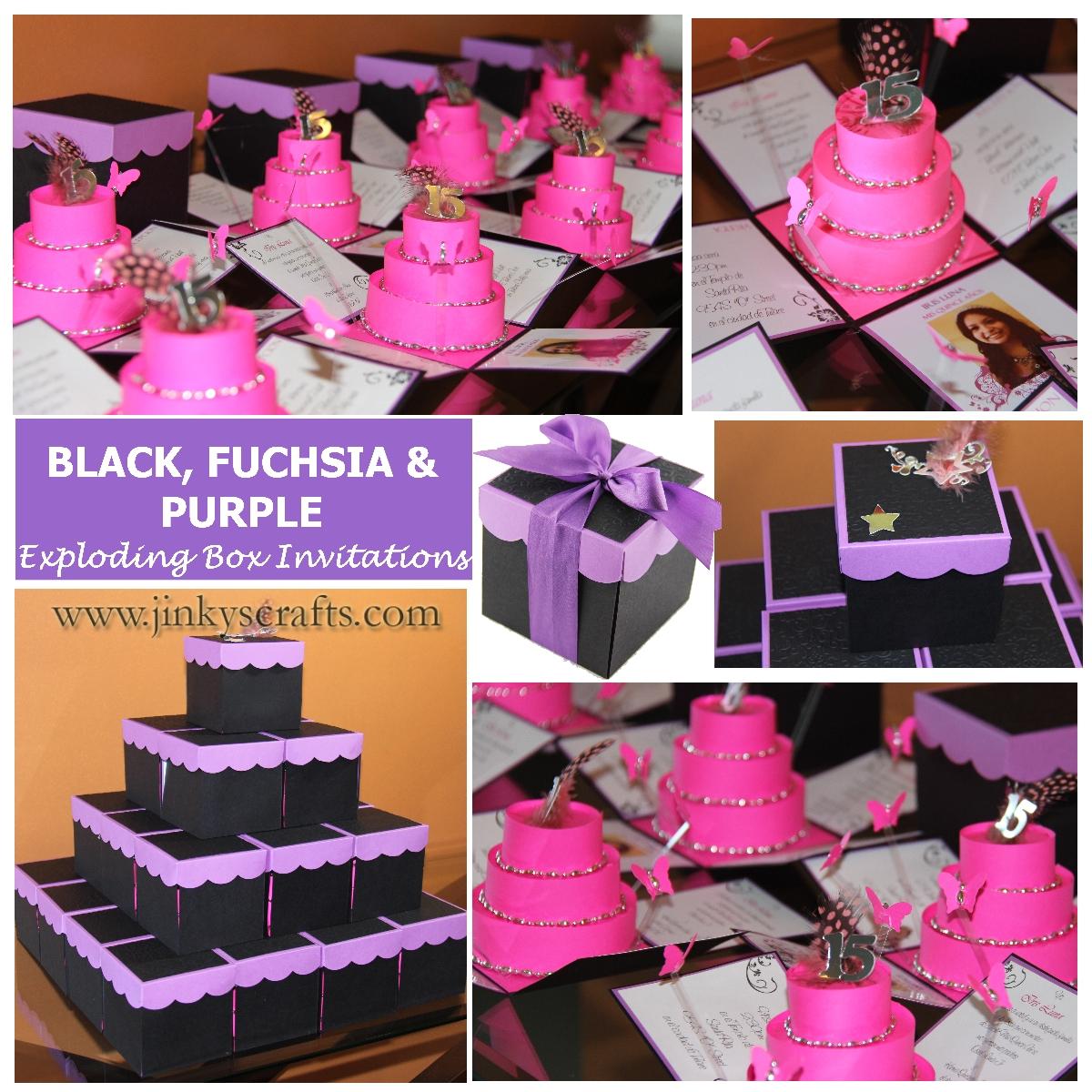 purple fuchsia black mis quince exploding box invitation