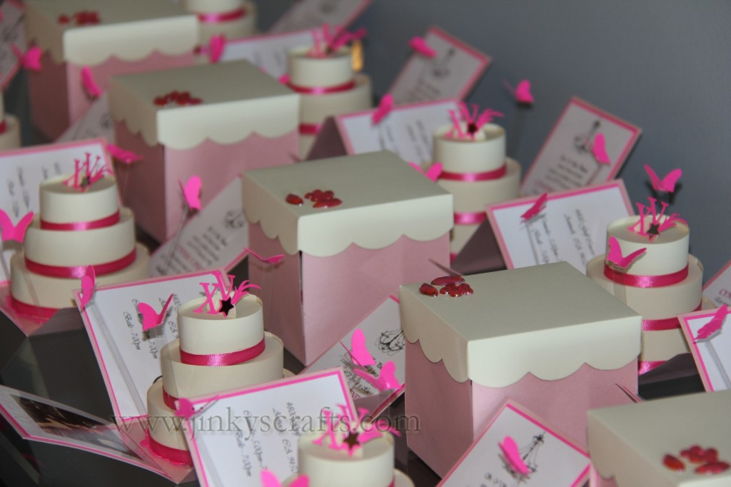 Pink  Creme Mis Quince Exploding Box PopUp Invitations