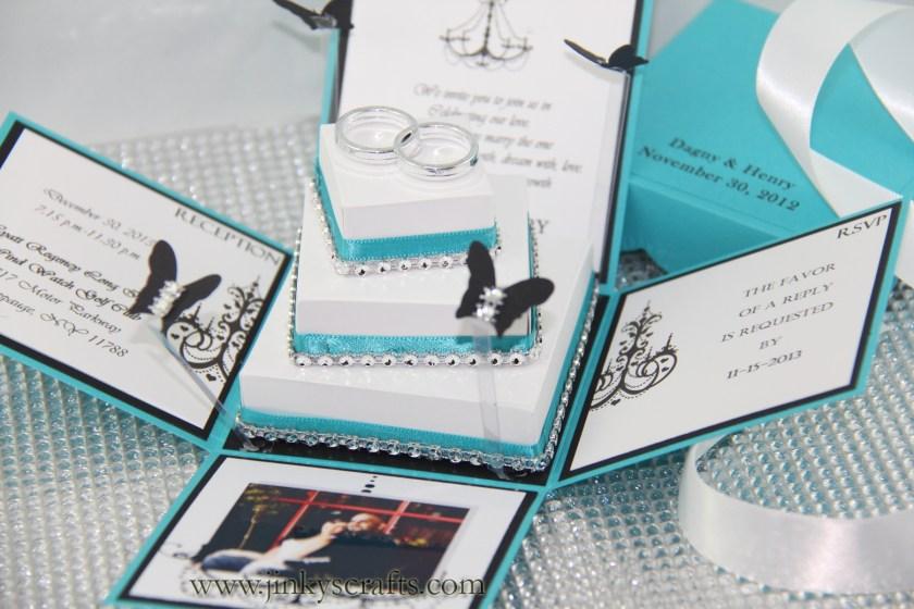 Creative Wedding Box Invitation With 3 Tier Cake