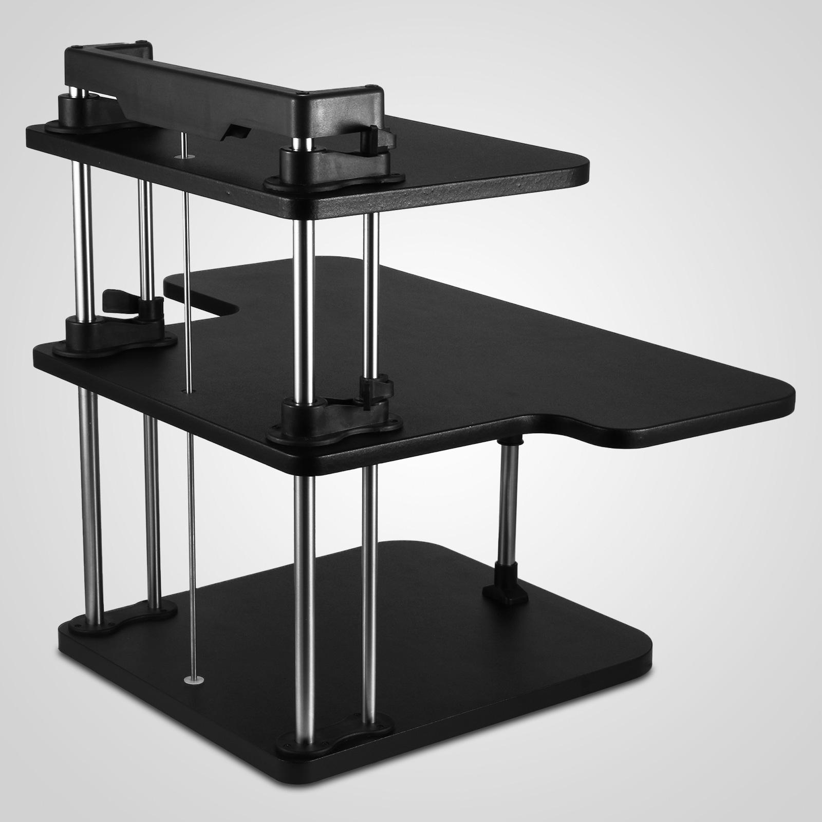 3 Tier Adjustable Computer Standing Desk Double Poles