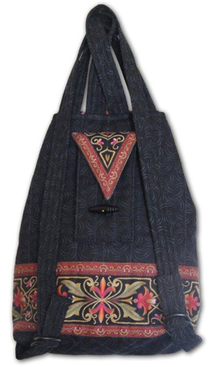 Black with Rose Backpack - Back