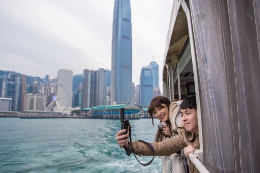 Taking selfies in the Star Ferry
