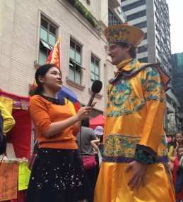 Interview at a temple fair in Hong Kong