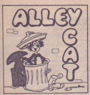 """Alley Cat"" logo, which incorporates an introductory panel of Alley Cat and makes perpendicular use of text direction to fit it into the panel."