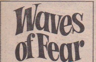 "Logo from ""Waves of Fear"". Tight-spaces font, wavy text direction to match the ""Waves"", in the title."