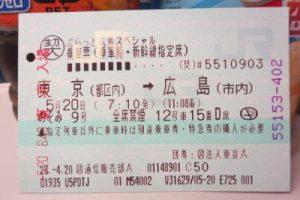 東京から広島への新幹線