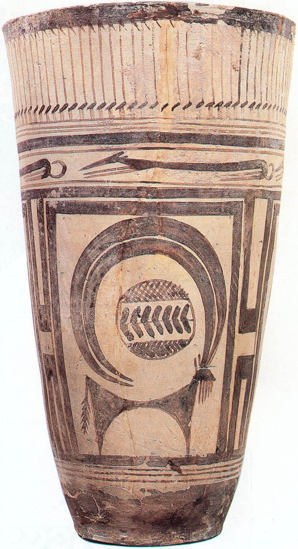 #5. Beaker with ibex motifs. Susa, Iran. 4200–3500 BCE. Painted terra cotta.