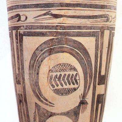 #5. Beaker with ibex motifs. Susa, Iran. 4200–3500 BCE. Painted terra cotta.