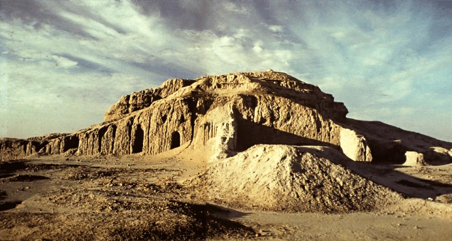 #12.White Temple and its ziggurat. Uruk (modern Warka, Iraq). Sumerian. c. 3500–3000 BCE. Mud brick.