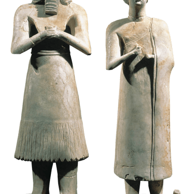 #14. Statues of votive figures, from the Square Temple at Eshnunna (modern Tell Asmar, Iraq) Sumerian. c. 2700 BCE. Gypsum inlaid with shell and black limestone.