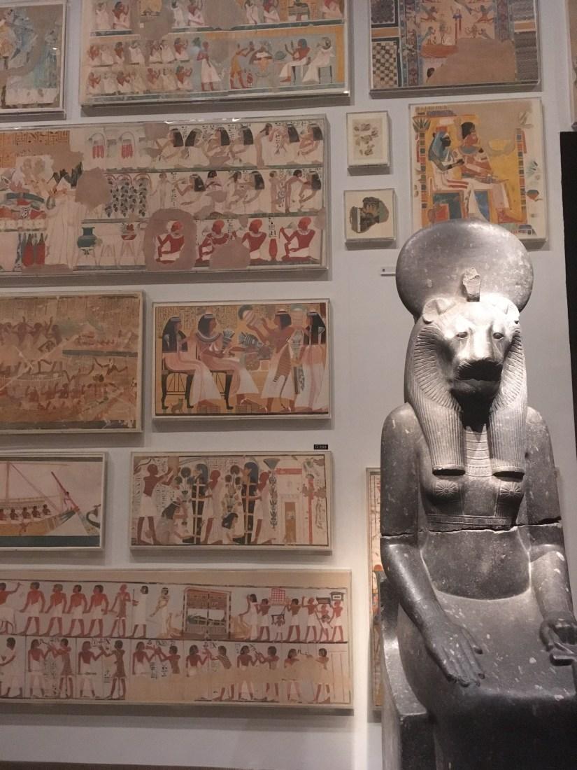 Met-Egyptian fresco & statue