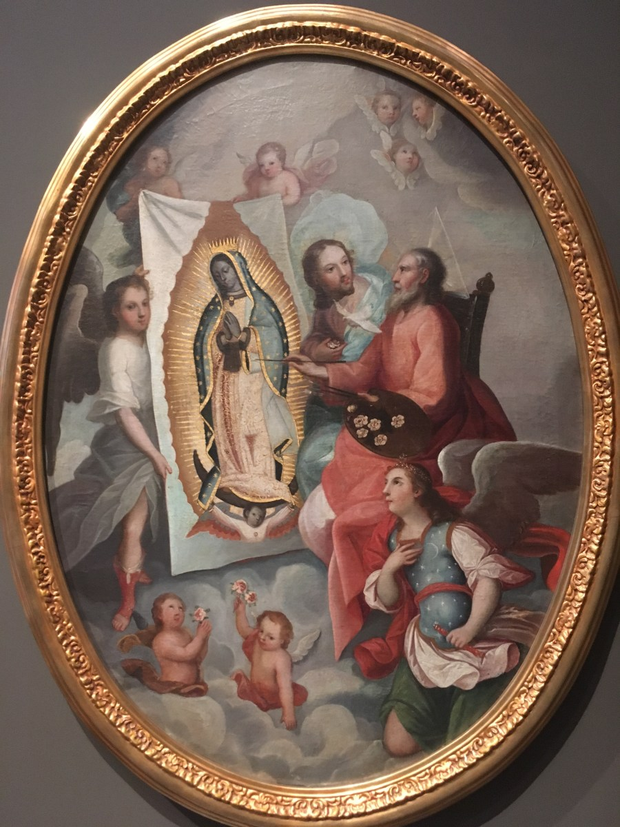 #95. The Virgin of Guadalupe (Virgen de Guadalupe). Miguel González. c. 1698 CE. Based on original Virgin of Guadalupe. Basilica of Guadalupe, Mexico City. 16th century CE. Oil on canvas on wood, inlaid with mother-of-pearl.