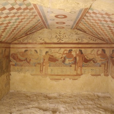 #32. Tomb of the Triclinium Tarquinia, Italy. Etruscan. c. 480–470 BCE. Tufa and fresco