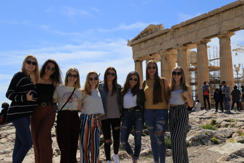 Acropolis with group of girls