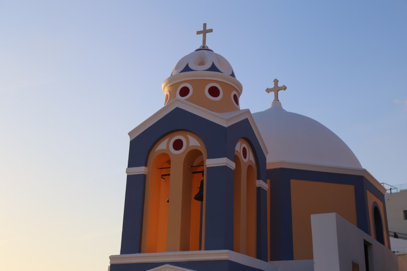 Santorini blue & orange church