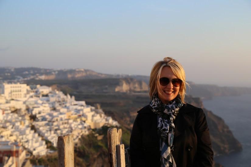 Santorini landscape with aunt
