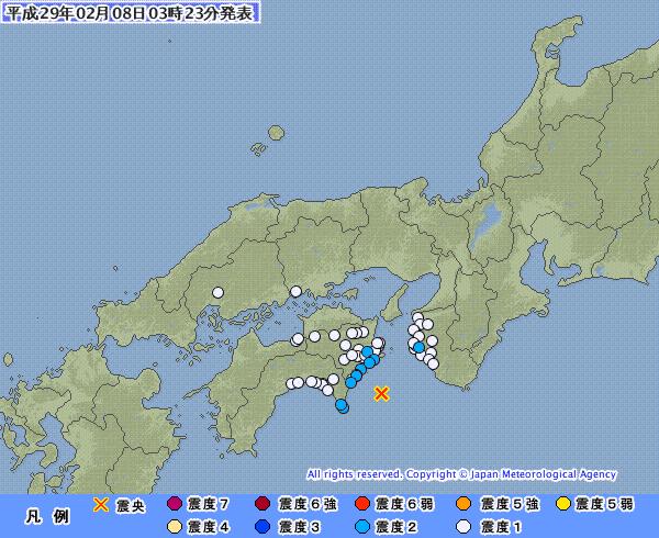 地震予知情報 四国沖M4と南海地震の関連。東海地域。