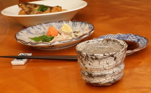 マゴチの刺身を肴に焼酎
