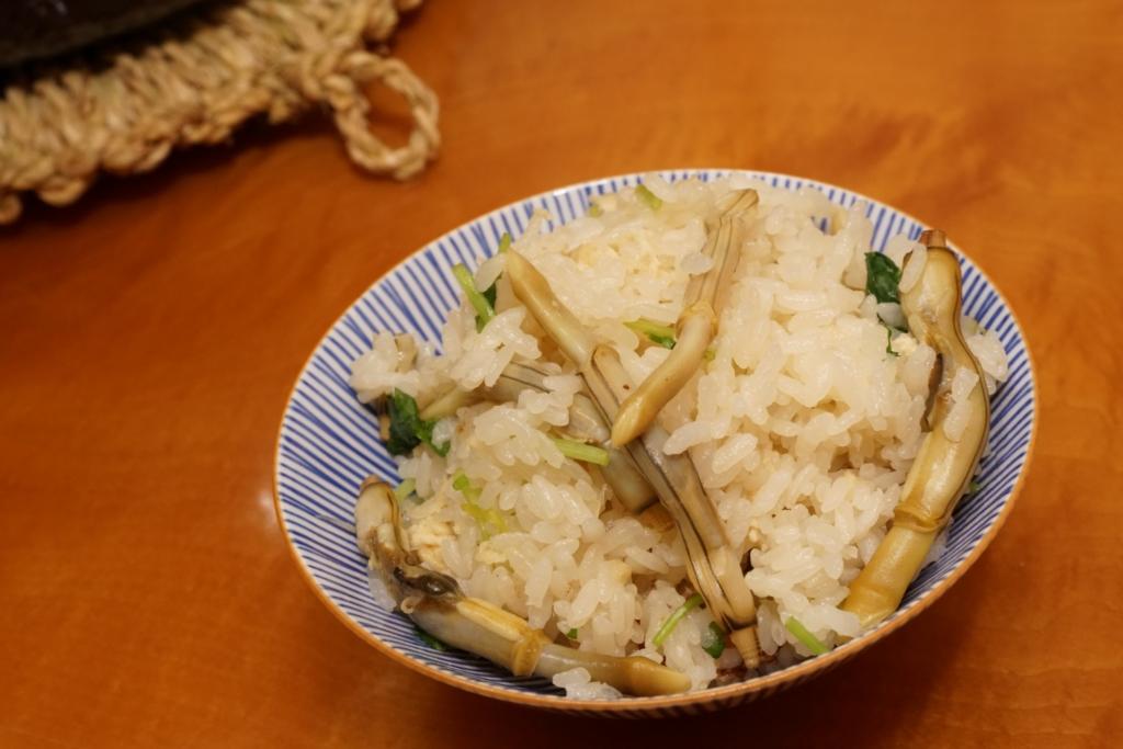 マテ貝の身がプリプリな炊き込みご飯