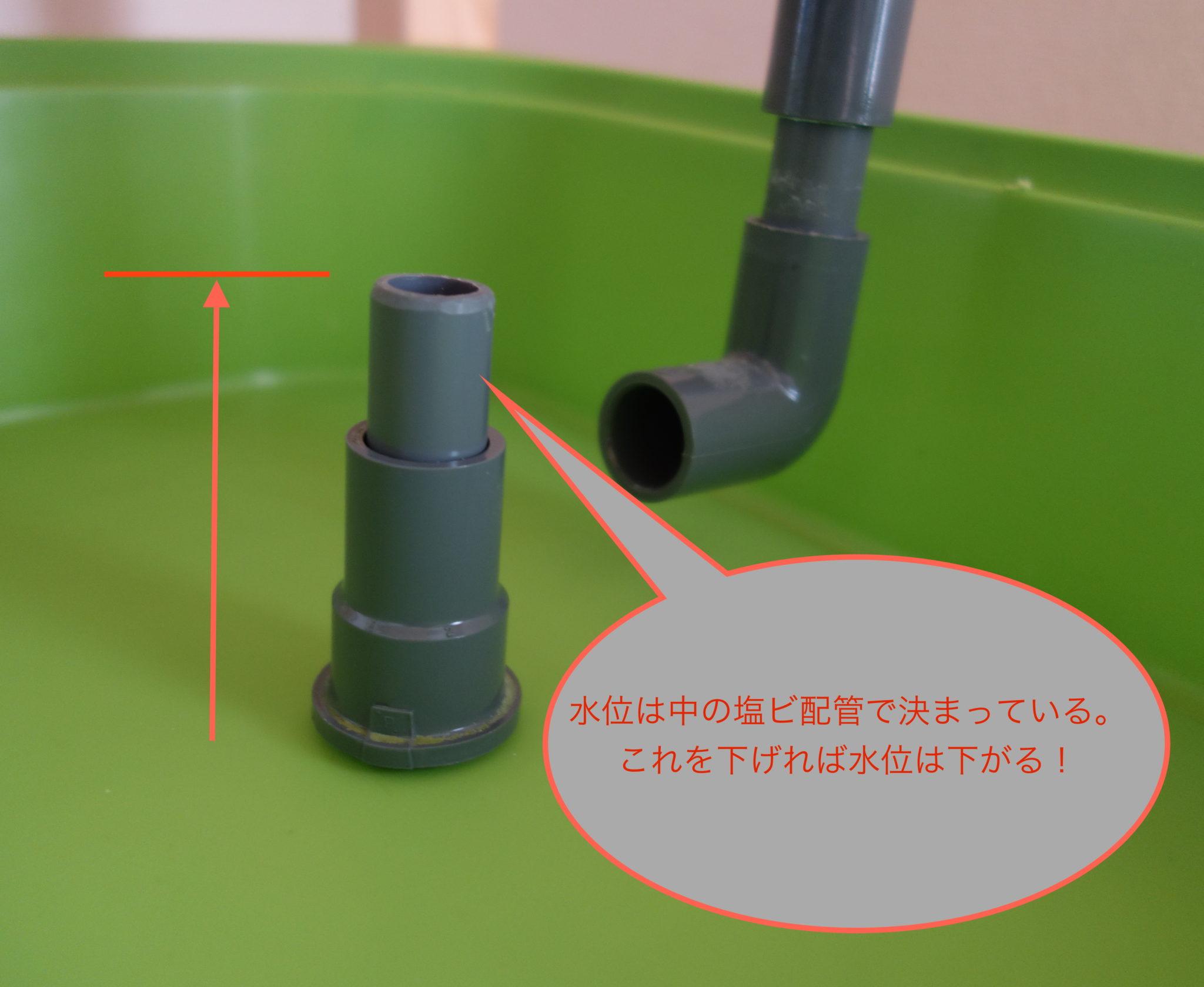水耕栽培の水位のコントロール。配管を短くしましょう。