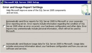 SQL Server 2005 Error and Usage Report Settings