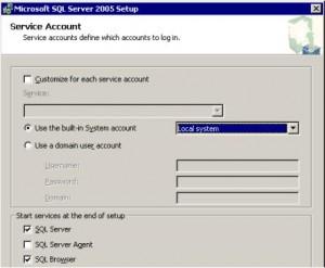 SQL Server 2005 Service Account