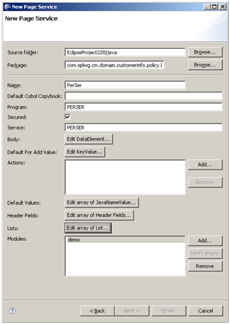 Page Service in Eclipse of ORMB / CC&B / Oracle Utilities