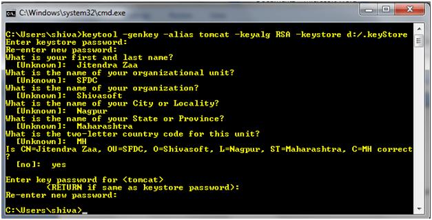 Tomcat SSL keytool to create keystore file