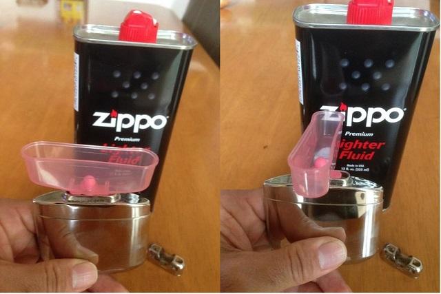 ハッキンカイロの注油器具 規定線までカップに入れ、ひねると注入されるスグレモノ