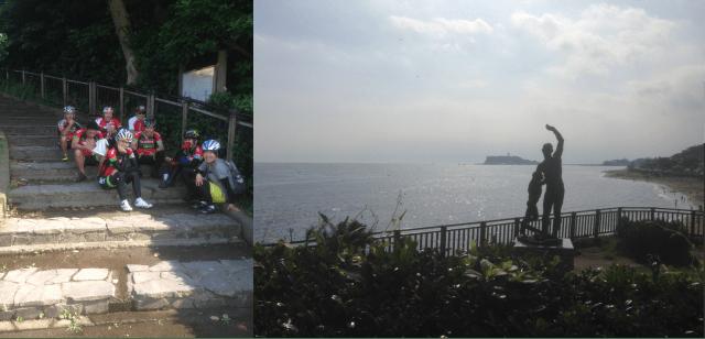 稲村ケ崎は江の島がキレイに見えるポイントなのですが、日陰が少ない所がマイナスです 僅かな日陰に固まるSUMITメンバーたち