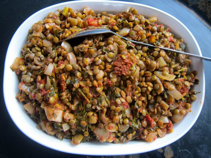 Tomato Baked Lentils - with Freekeh