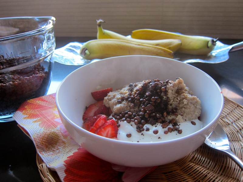 Sweet Crunchy Lentil Topping on Hot Oat Bran Cereal with Greek Yogurt and Fruit