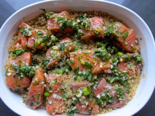 Asian Marinated Salmon on Lentil and Quinoa