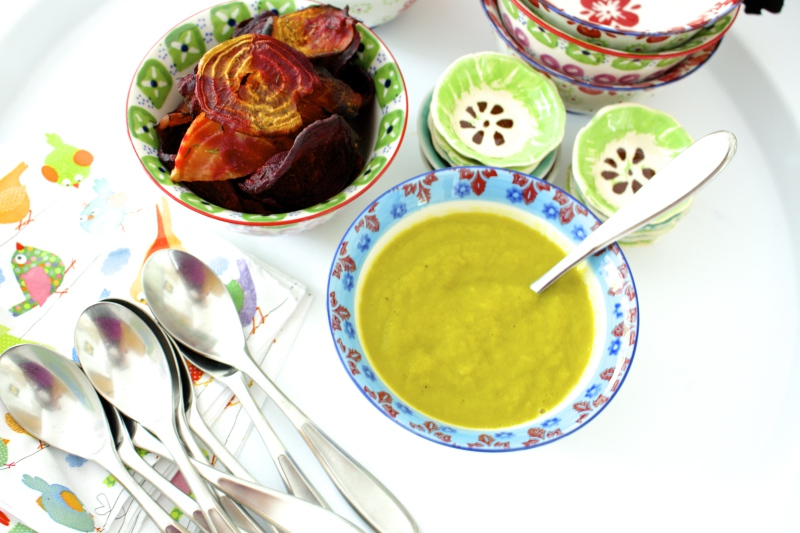 Pumpkin Leek Soup with Red Hot Beet Chips