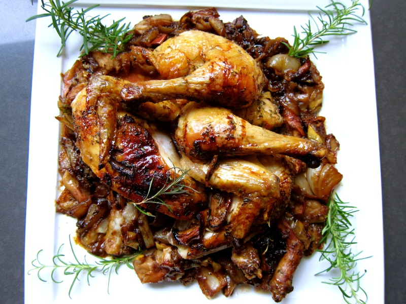 Apple Onion Roasted Chicken