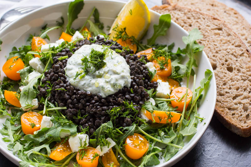 Black Beluga Lentil Salad with Tzatziki